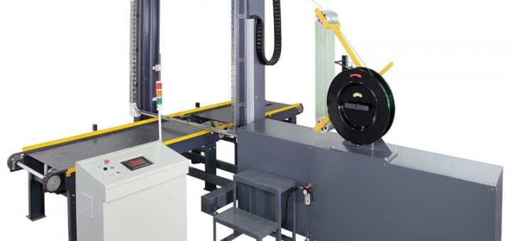 Strapping machine, pallet packing machine
